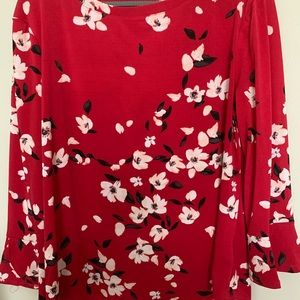 Red boat neck ruffled sleeve blouse